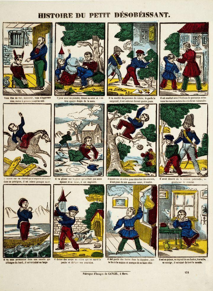 """""""Histoire du petit désobéissant"""",Gangel, Metz (éditeur), entre 1852 et 1858, gravure sur bois coloriée au pochoir, Coll. musée de l'Image, Épinal (Musée de l'Image - Ville d'Épinal - cliché E. Erfani)"""