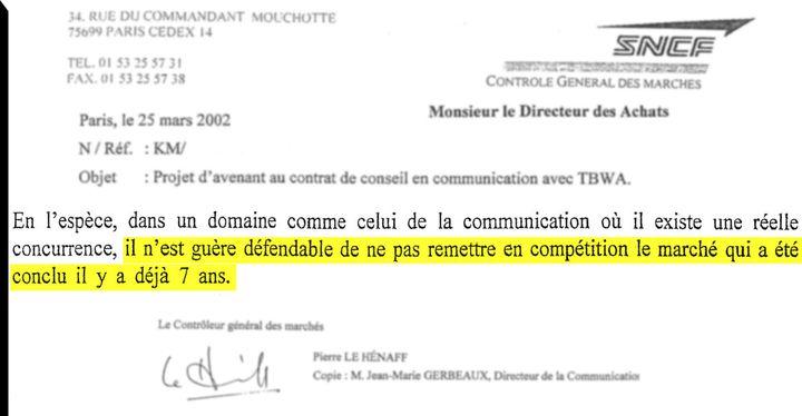 Extrait de la lettre du contrôleur des marchés de la SNCF à la Direction des achats. (DR)