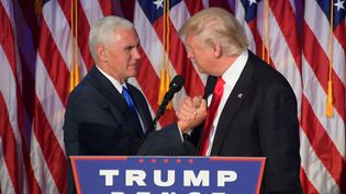 Mike Pence et Donald Trump se serrent la main, le 9 novembre 2016, à New York (Etats-Unis). (JIM WATSON / AFP)