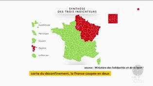 La carte du déconfinement de la France, présentée le 7 mai 2020. (France 2)