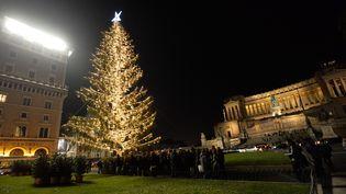 Le traditionnel arbre de Noël de Rome, Piazza Venezia, tout déplumé cette année (5 janvier 2018)  (Silvia Lore / Nurphoto /AFP)