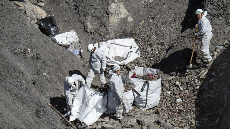 Le site du crash de l'A320 de Germanwings où les opérations de ramassage des débris sont en cours, le 13 avril 2015, à Seyne (Alpes-de-Haute-Provence). (YVES MALENFER / MINISTERE DE L'INTERIEUR / AFP)