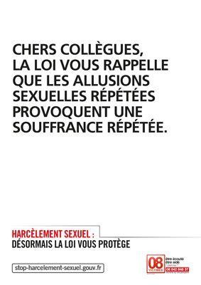 Une affiche contre le harcèlement sexuel en entreprise. (GOUVERNEMENT.FR)