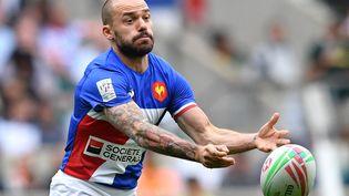 LeTricolore Terry Bouhraoua n'a pas réussi à se qualifier avec l'équipe de France masculine de rugby à 7 lors du tournoi de qualfication olympique pour les JO de Tokyo, dimanche 20 juin 2021. (BEN STANSALL / AFP)