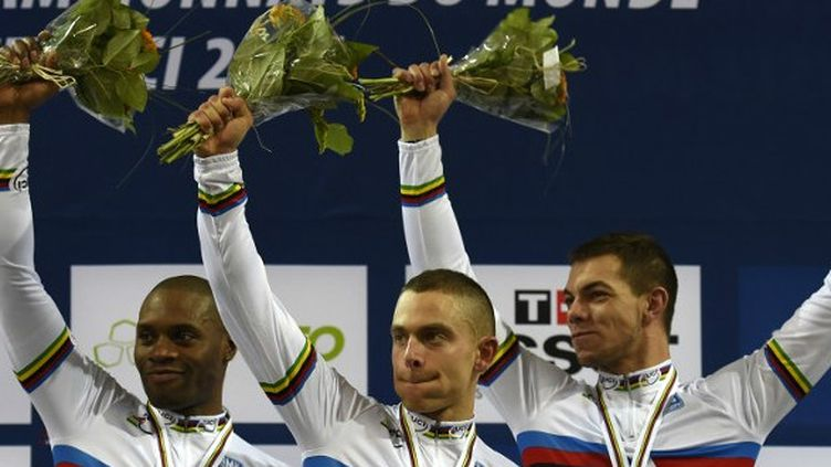 Baugé, D'Almeida, Sireau, champions du monde de la vitesse par équipes