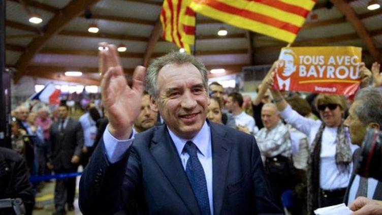 François Bayrou, hier à Perpignan (BERTRAND LANGLOIS / AFP)