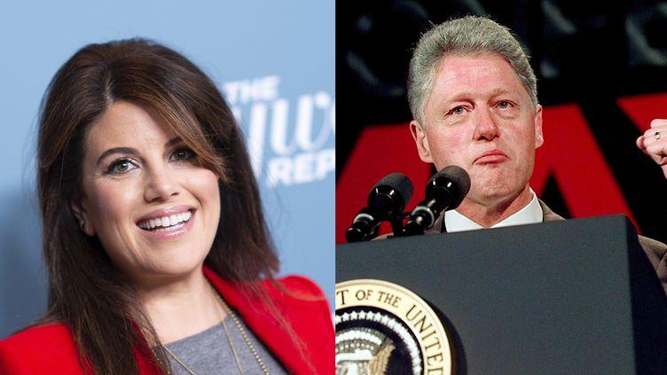 Monica Lewinsky en décembre 2018 à Los Angeles. Bill Clinton à San Francisco en juin 1997. (VALERIE MACON/AFP / STEPHEN JAFFE/AFP)