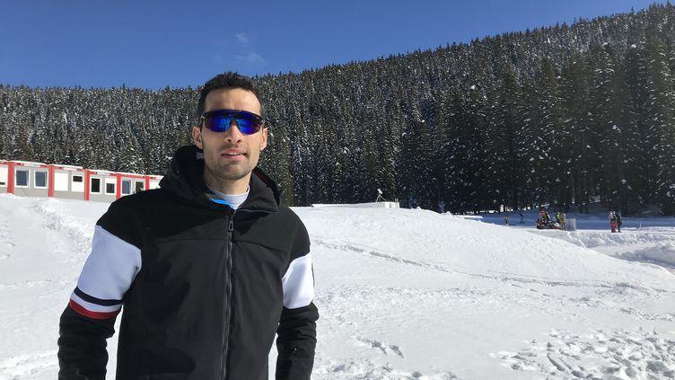 Le biathlète Martin Fourcade est présent sur le site des Championnats du monde à Pokljuka (Slovénie). (JEROME VAL/ FRANCE INFO)