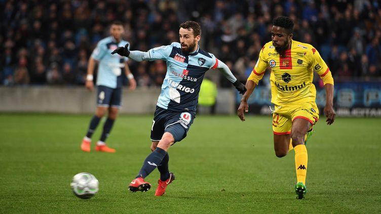 Le Havrais Alexandre Bonnet lors de la rencontre contre Quevilly-Rouen, le 30 mars 2018, lors de la 31e journée de Ligue 2. (EMMANUEL LELAIDIER / MAXPPP)