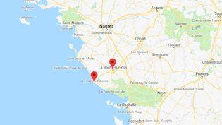Ce jeune homme de 24 ansa été arrêté après une course poursuite entre Les Sables-d'Olonne et La Roche-sur-Yon. (GOOGLE MAPS)
