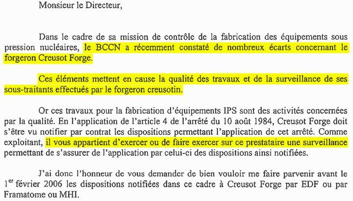 Extrait d'un courrier de l'Autorité de sûreté nucléaire (ASN) à EDF en 2005 (RADIO FRANCE)