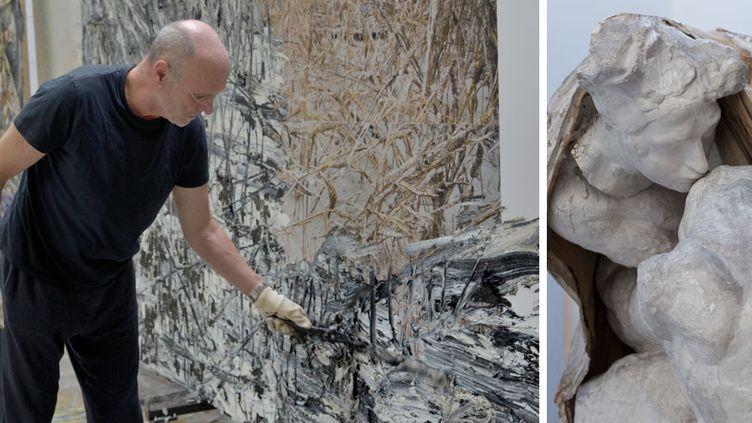 """Portrait d'Anselm Kiefer (2014) et """"L'Absolution"""" d'Auguste Rodin (détail), après 1900, Paris, musée Rodin  (A gauche © photo Charles Duprat - A droite © agence photographique du musée Rodin, ph. P. Hisbacq)"""