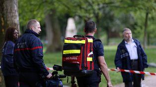 Des pompiers interviennent au parc Monceau, à Paris, après un accident causé par la foudre, le 28 mai 2016. (MATTHIEU ALEXANDRE / AFP)