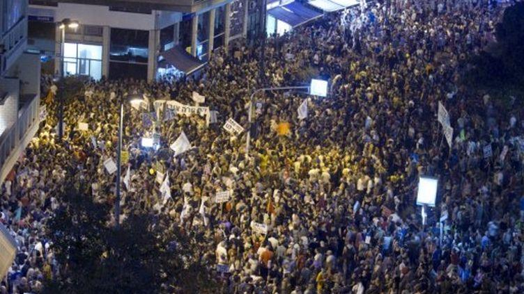Tel-Aviv: manifestation contre la hausse des prix des logements et des inégalités sociales en Israël, samedi 3 Septembre (AFP PHOTO / JACK GUEZ)