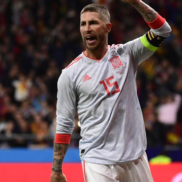 Le défenseur de la sélection espagnole Sergio Ramos lors du match amical contre l'Argentine le 27 mars 2018. (PIERRE-PHILIPPE MARCOU / AFP)