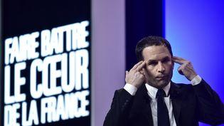 Benoît Hamon, candidat socialiste à l'élection présidentielle, le 5 avril 2017 lors d'un meeting à Nancy (Meurthe-et-Moselle). (PHILIPPE LOPEZ / AFP)