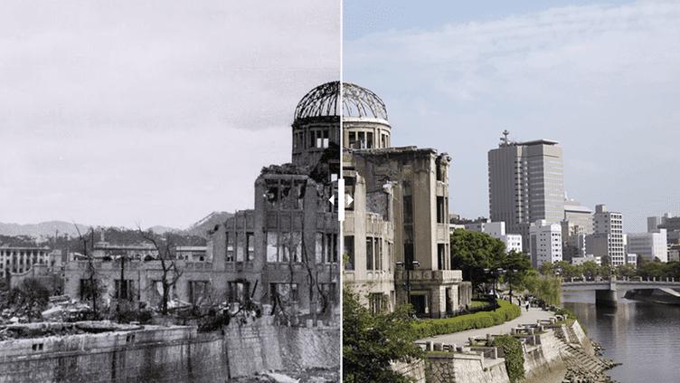 Lemémorial de la paix d'Hiroshima, oudôme de Genbaku, avant et après le bombardement du 6 août 1945. (ISSEI KATO / REUTERS)