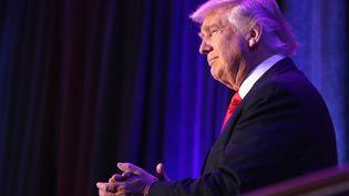 Donald Trump à New York, le 9 novembre 2016, après l'annonce de son élection à la présidence des États-Unis (JOE RAEDLE / GETTY IMAGES NORTH AMERICA / AFP)