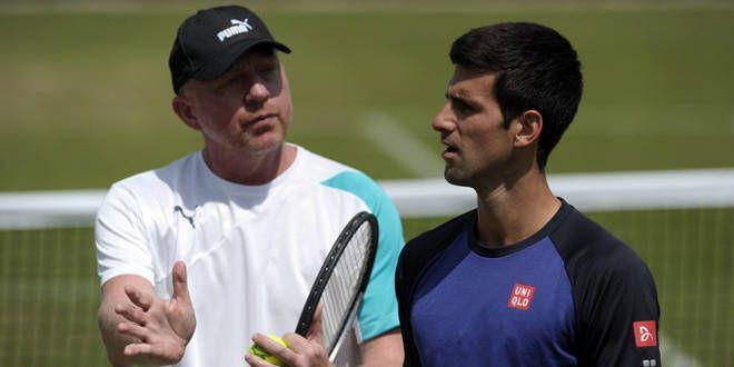 Novak Djokovic avec l'un des maîtres du gazon à son époque, Boris Becker