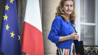 La garde des Sceaux, Nicole Belloubet, à la sortie du Conseil des ministres, le 31 août 2018, à l'Elysée. (STEPHANE DE SAKUTIN / AFP)