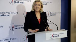 La présidente du RN Marine Le Pen après le second tour des élections régionales, dimanche 27 juin 2021 à Nanterre (Hauts-de-Seine). (GEOFFROY VAN DER HASSELT / AFP)