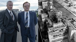 """Stellan Skarsgard et Jared Harris, deux acteurs de la série """"Chernobyl"""" produite par HBO, et une photo réelle de l'accident de la centrale nucléaire de Tchernobyl (Ukraine), prise fin avril 1986, quelques jours après l'explosion du réacteur. (HBO / VLADIMIR REPIK / AFP)"""