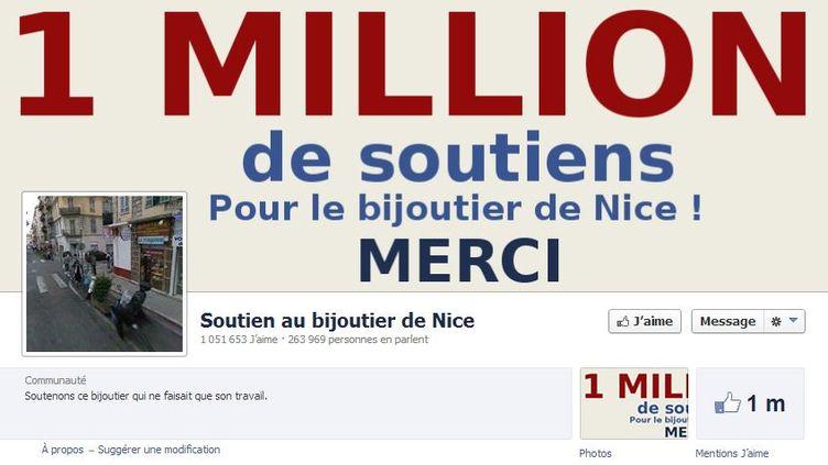 """Le groupe Facebook de soutien au bijoutier de Nice qui a tiré sur un braqueur a dépassé 1 million de """"like"""", le 14 septembre 2013. (FACEBOOK / FRANCETV INFO)"""