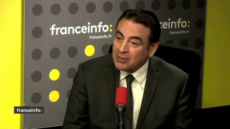 Joël Mergui, le président du Consistoire israélite de France dans le studio de franceinfo, le 28 mars 2018. (FRANCEINFO / RADIOFRANCE)