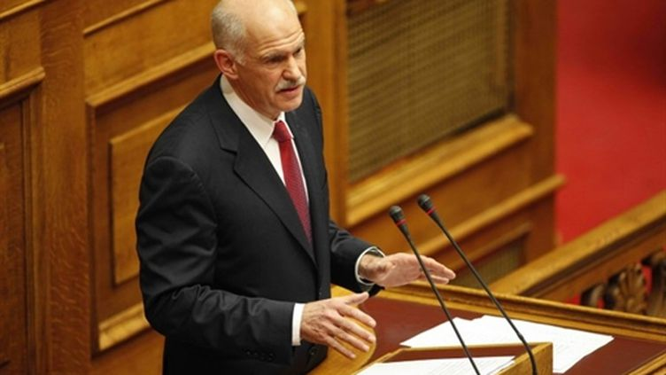 Le Premier ministre grec Georges Papandreou au parlement grec (AFP / Eurokinissi)