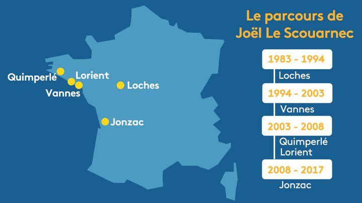 Le parcours de Joël Le Scouarnec. (STEPHANIE BERLU / RADIO FRANCE)