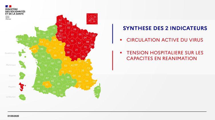 La carte de France provisoire du déconfinement au 1er mai 2020. (FRANCEINFO)