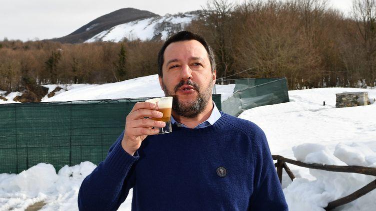 Le ministre de l'IntérieurMatteo Salvini, àRivisondoli, le 8 février 2019. (ALBERTO PIZZOLI / AFP)