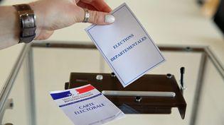 Une urne pour des élections départementales. Photo d'illustration. (FRANCOIS DESTOC / MAXPPP)