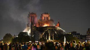 Les pompierstentent d'éteindrel'incendie de la cathédrale Notre-Dame de Paris,le 15 avril 2019. (ERIC FEFERBERG / AFP)