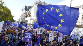 Des manifestants défilent à Londres pour réclamer un nouveau référendum sur le Brexit, le 19 octobre 2019 à Londres. (NIKLAS HALLE'N / AFP)