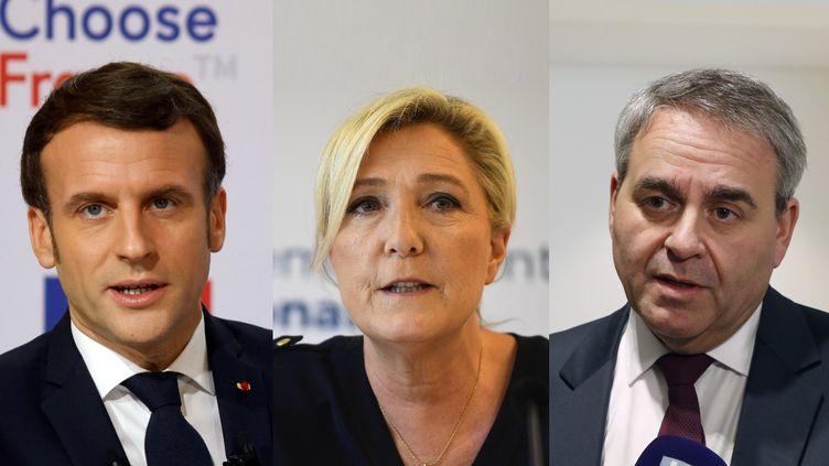 De gauche à droite Emmanuel Macron, Marine Le Pen et Xavier Bertrand. (LUDOVIC MARIN, CHRISTOPHE ARCHAMBAULT, FRANCOIS GUILLOT / POOL / AFP)