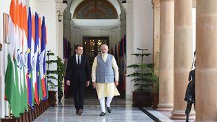 Emmanuel Macron et le Premier ministre indien,Narendra Modi, à New Dehli (Inde), samedi 10 mars 2018. (INDIAN MINISTRY OF EXTERNAL AFFA)