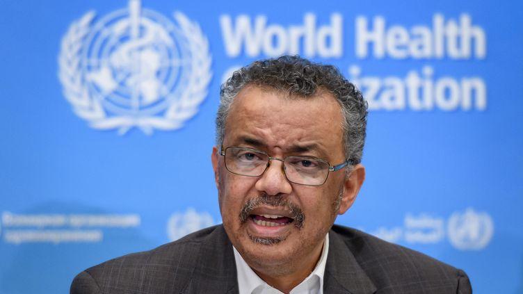 Conférence de presse du directeur de l'Organisation mondiale de la santé, Tedros Adhanom Ghebreyesusau, sujet du coronavirus 2019-nCoV, à Genève le 30 janvier 2020. (FABRICE COFFRINI / AFP)
