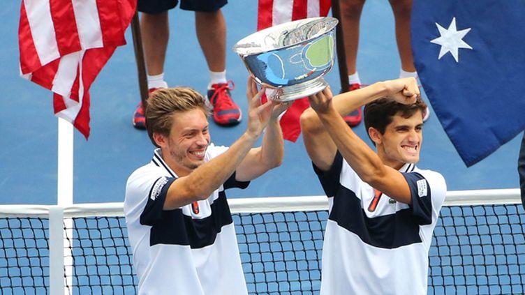 (Nicolas Mahut et Pierre-Hugues Herbert sont devenus samedi les premiers Français dans l'histoire de l'US Open à remporter le tournoi de double messieurs © Reuters / Anthony Gruppuso-USA TODAY Sports)