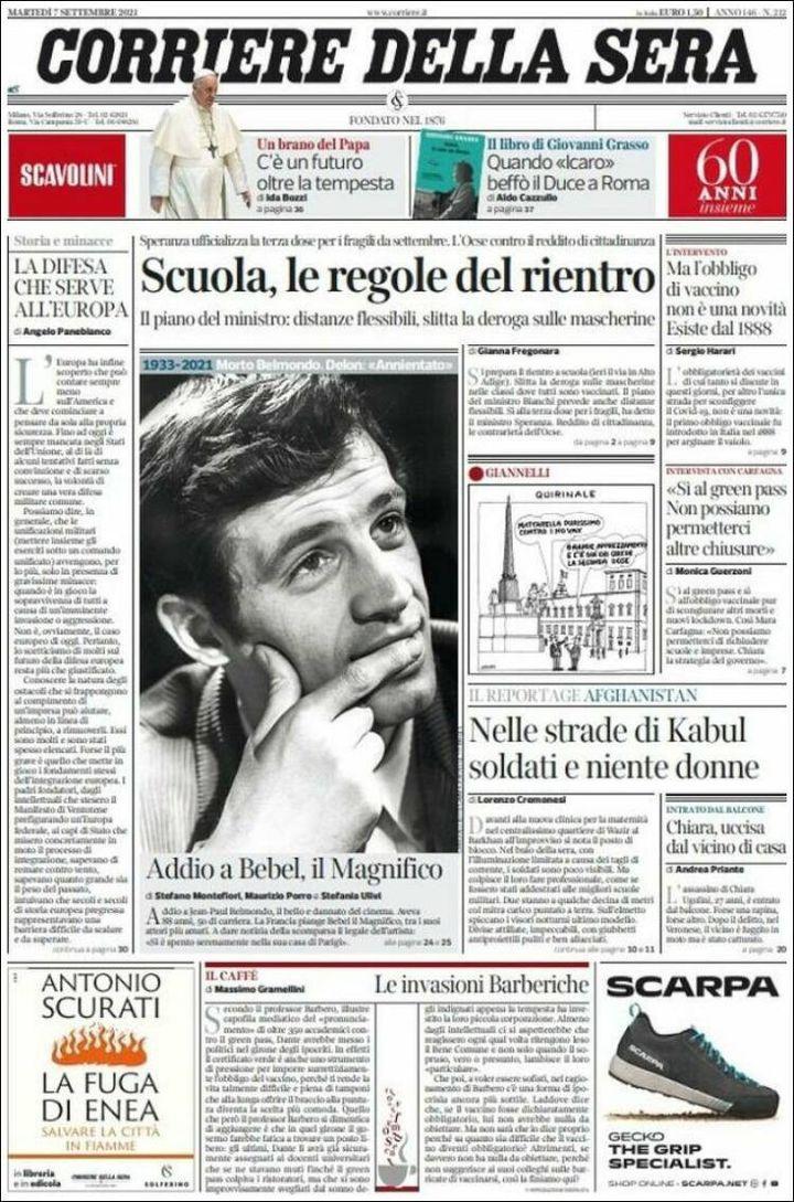 """La une du """"Corriere della Sera"""", le 7 septembre 2021. (CORRIERE DELLA SERA)"""
