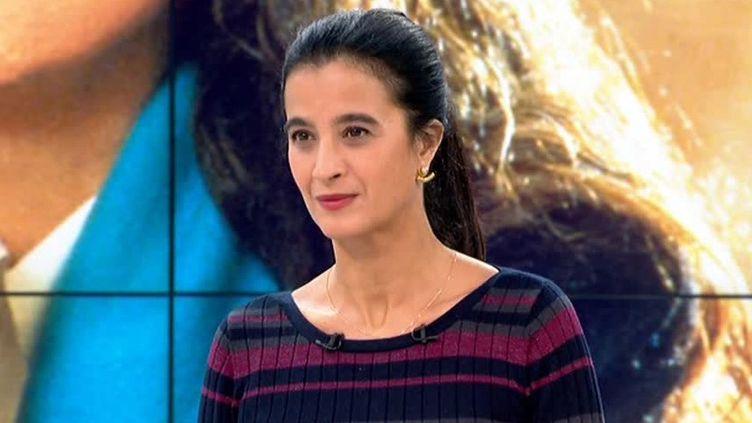 La journaliste et romancière Vanessa Schneider sur le plateau du Soir 3  (France 3 / Culturebox / capture d'écran )