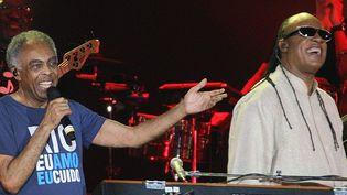 Gilberto Gil et Stevie Wonder ont donné pour Noël un concert gratuit sur la plage de Copacabana à Rio de Janeiro le 25 décembre devant un demi million de spectateurs  (Ari Versiani/AFP)