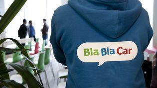 Une conférence de presse de la société de covoiturage BlaBlaCar lors de la présentation de BlaBlaLines, le 2 mai 2017, à Paris. (MAXPPP)