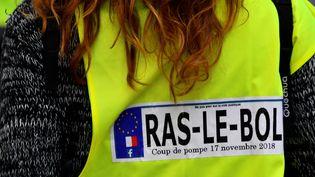 """A Bordeaux, une manifestante arbore ici un gilet jaune avec un autocollant représentant une plaque d'immatriculation. """"Coup de pompe 17 novembre 2018"""", peut-on y lire. (GEORGES GOBET / AFP)"""