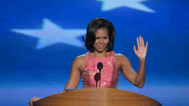 Michelle Obama,la Première dame des Etats-Unis, lors de la première journée de la convention démocrate à Charlotte (Caroline du Nord), le 4 septembre 2012. (STAN HONDA / AFP)