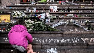 Une enfant allume une bougie devant un mémorial pour les victimes des attentats de Paris, à Lyon, le 15 novembre 2015 (JEFF PACHOUD / AFP)