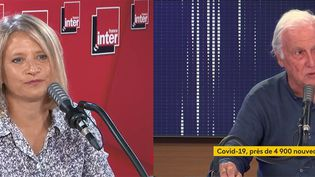 L'infectiologue Karine Lacombe (G), le professeur Jean-François Delfraissy (D). (FRANCE INTER / FRANCEINFO / RADIOFRANCE)