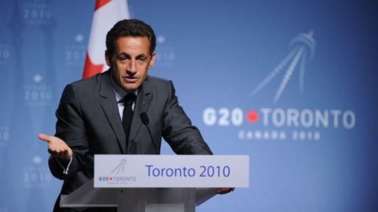 Nicolas Sarkozy, lors d'une conférence de presse à l'issue du G20, le 27 juin 2010, à Toronto. (AFP - Eric Feferberg)