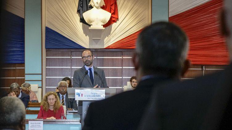 Edouard Philippe devant le Congrès de Nouvelle-Calédonie, le 5 décembre 2017. (FRED PAYET / AFP)