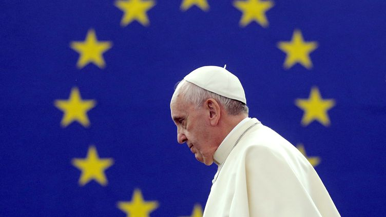Le pape François s'est exprimé devant le Parlement européen à Strasbourg (Bas-Rhin), le 25 novembre 2014. (CHRISTIAN HARTMANN / AFP)